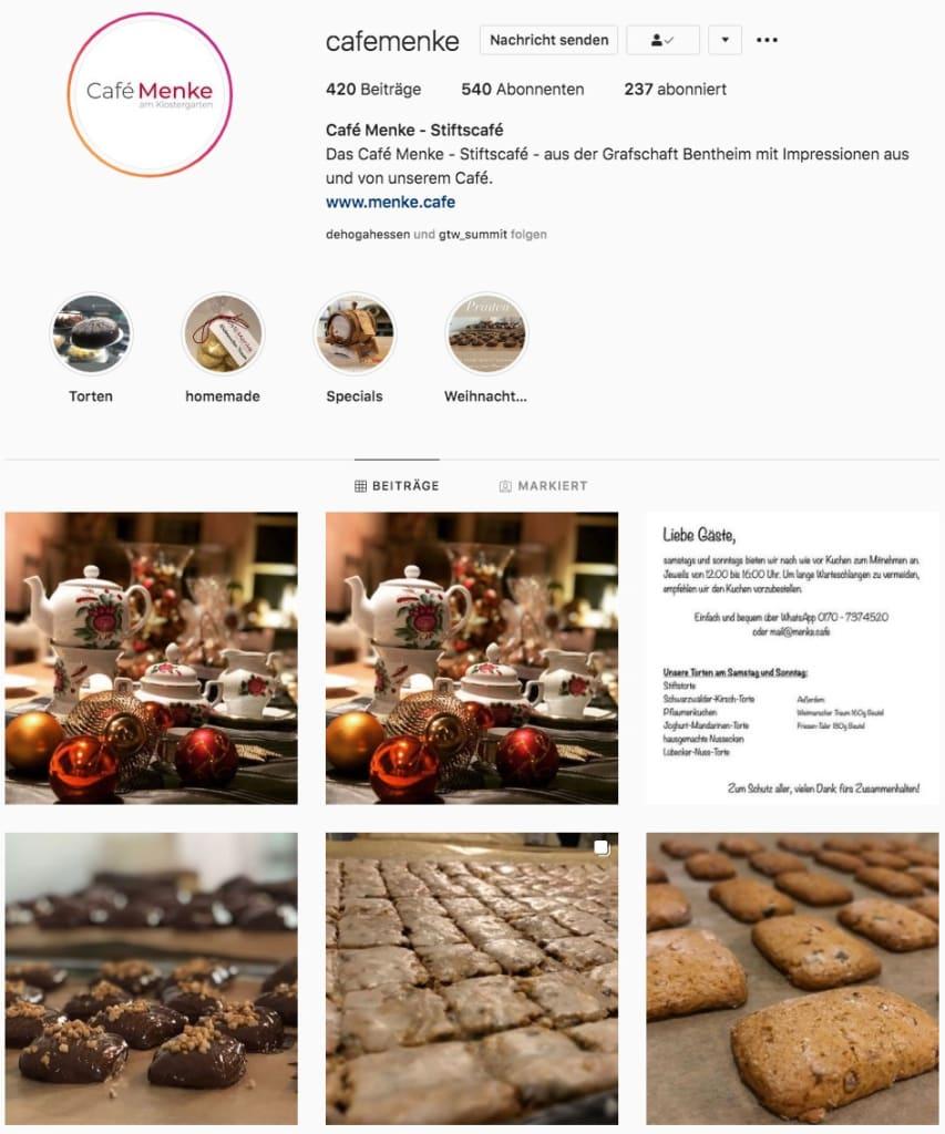 Café Menke bei Instagram