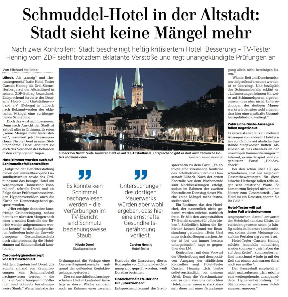 Lübecker Nachrichten berichtet ernut über völlig verdrecktes Hotel Alter Speicher Lübeck