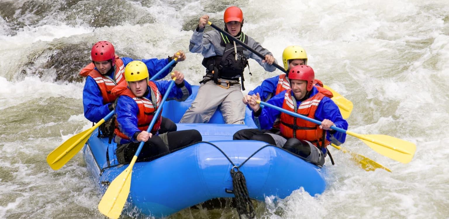 Raft down Grade 5 rapids