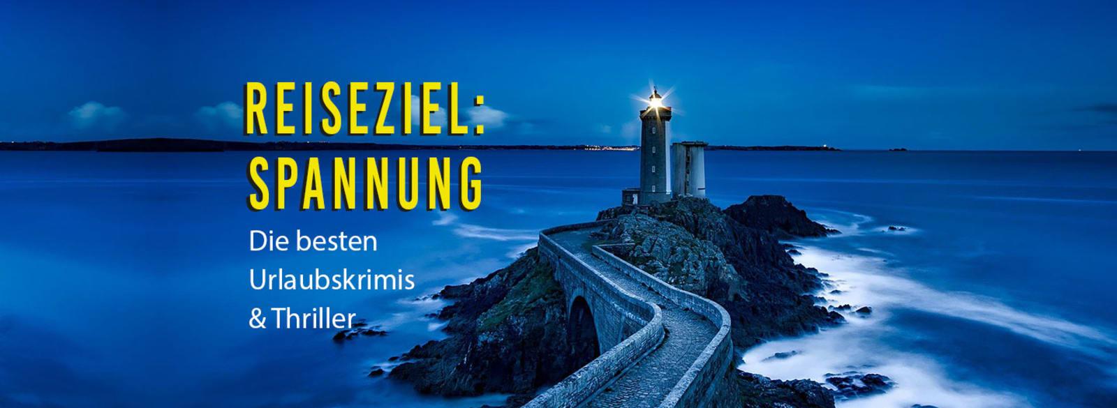 Banner mit einem Leuchtturm drauf und dem Text: Reiseziel: Spannung