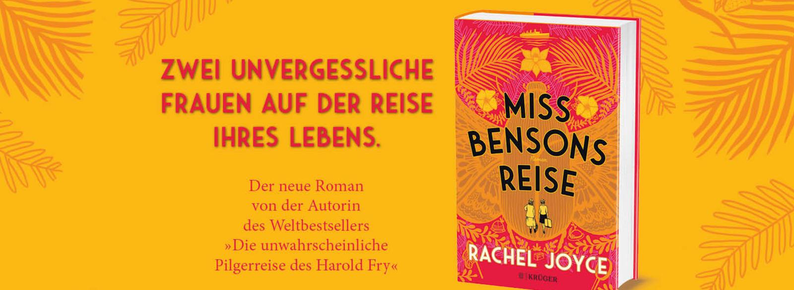 Grafik mit Text und Buchcover zu Miss Bensons Reise