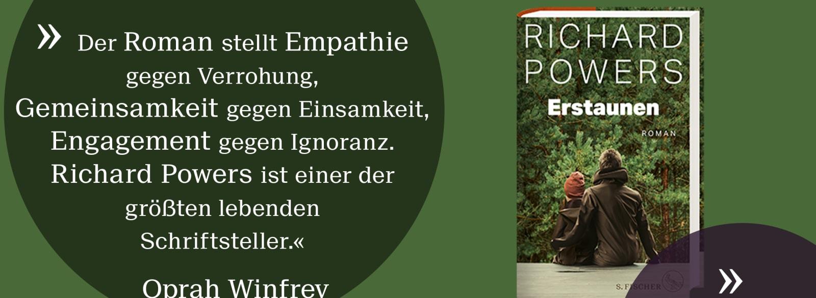 Erstaunen, der neue Roman von Richard Powers. Quote von Oprah Winfrey