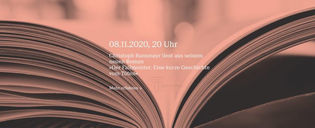 """Banner zur Ankündigung der Lesung von Christoph Ransmayr zu """"Der Fallmeister"""""""