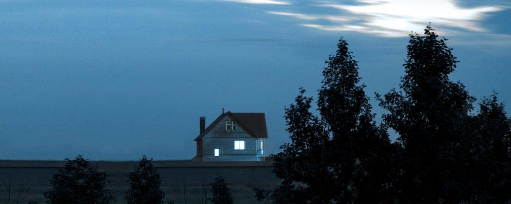 Hintergrund Tremayne Die Stimme: Haus im dunkeln, Licht brennt