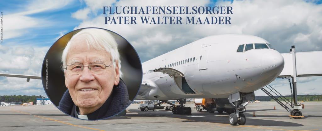 Flughafenseelsorger Pater Walter Maader und im Hintergrund ein Flugzeug