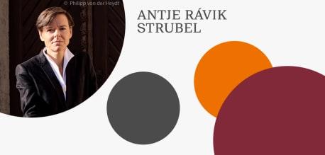 Grafik mit Autorenfoto von Antje Rávik Strubel