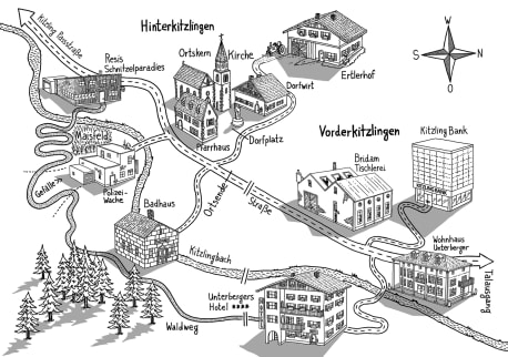Die Karte zu »Der Tote im Schnitzelparadies«