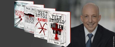 links die Buchblöcke von Schmerzmacher, Trönenbringer, Blutgott und Höllenkind - rechts: Bild vom Autor Veit Etzold