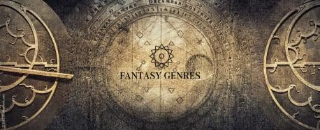 """hellbrauner Hintergrund mit Uhrenemblem. Im Vordergrund der Schriftzug """"Fantasy Genres"""""""