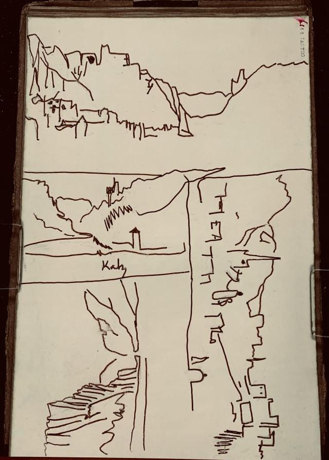 Eine Strichzeichnung der Loreley, angefertigt nach dem Notizenbuch von William Turner