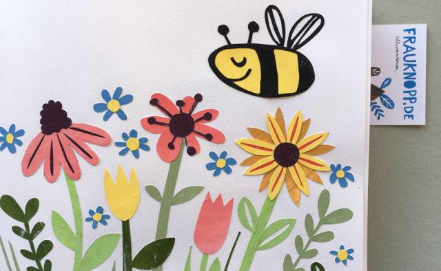 Paper cut Biene und Blume von Inga Knopp-Kilpert