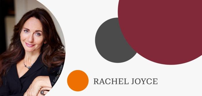 Grafik mit Autorenfoto von Rachel Joyce