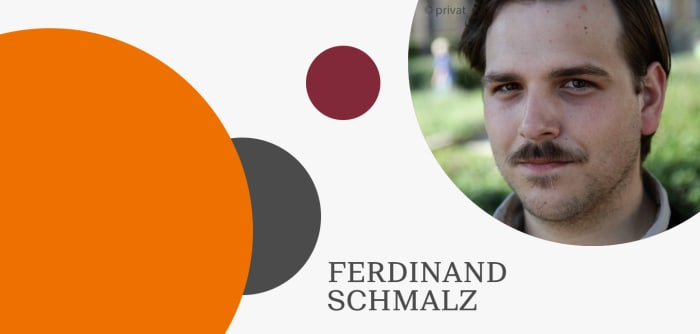 Grafik mit Autorenfoto von Ferdinand Schmalz