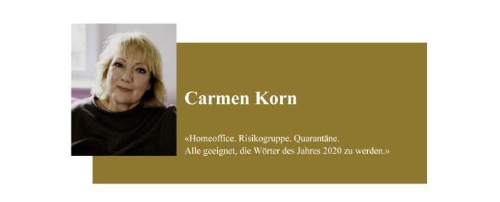 Banner zum Coronabeitrag von Carmen Korn