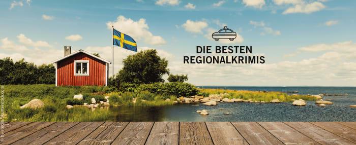 """Kleines Haus in Schweden an einem See - dazu der Text """"Die besten Regionalkrimis"""""""