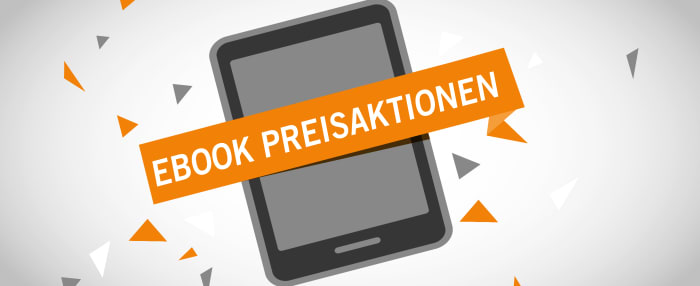 """Tablet auf weißem Hintergrund, orangenes Banner mit Aufschrift """"Ebook Preisaktionen"""" darüber"""