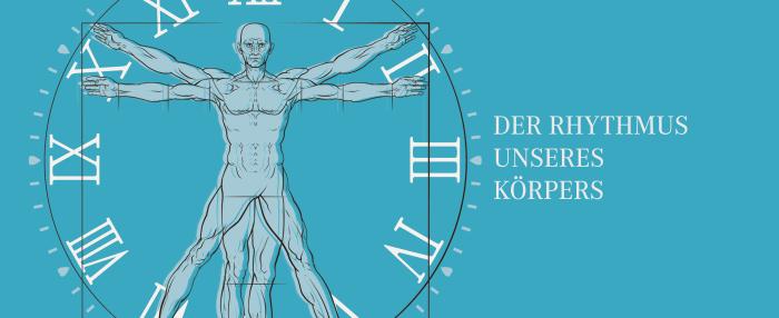 """links eine Zeichnung von einem Menschen, umkreist von einem Uhrenziffernblatt - rechts daneben der Schriftzug """"Der Rhythmus unseres Körpers"""""""
