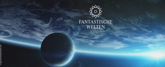 Blick ins Weltall auf einen großen und einen kleinen Planeten – Schriftzug: Fantastische Welten