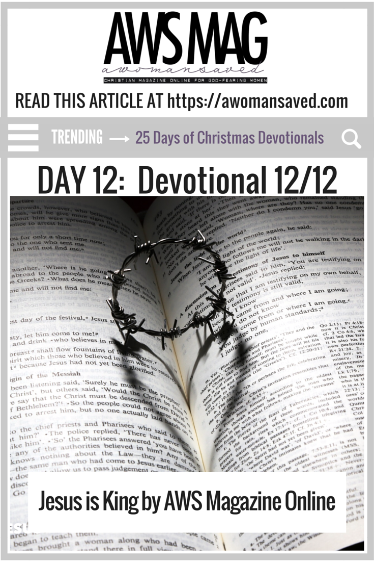 25 Days of Devotionals Day 12 Jesus is King