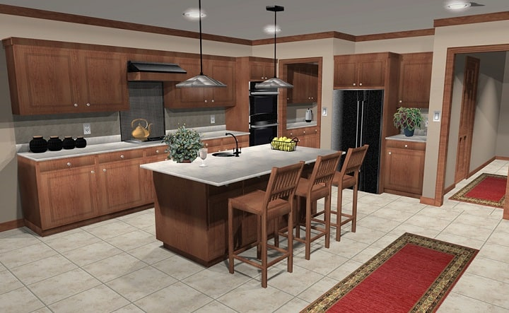 Rendering of virtual cooking area utilizing Punch interior decoration software
