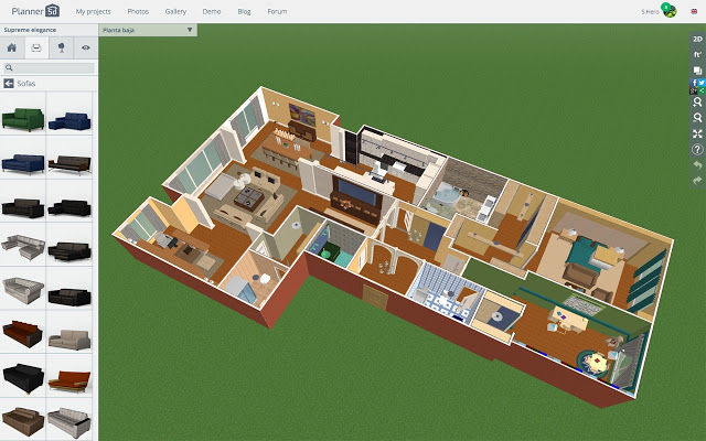 web-based program lets you build your living room design with a top down 2D interface. Once created you can switch to a 3D view to see your work