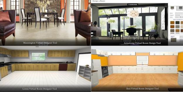 This interactive web based tool is designed to help you select floors and paint colors using a variety of rooms. It does a nice job creating realistic areas.