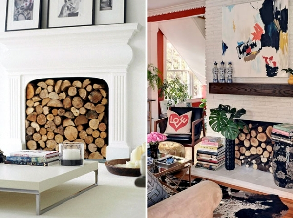 Logs look perfect when arranged in an unused fireplace,