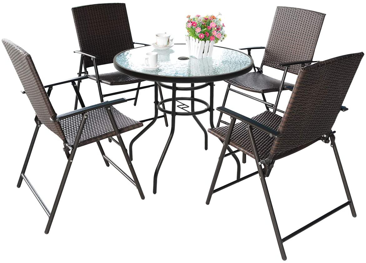 Cheap Small Patio Furniture: S AFSTAR 5 Pieces Patio Dining Set, 4 Folding Chairs with Table,
