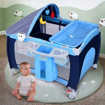 3 In 1 Convertible Playpen With Foldable Bassinet Bed