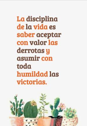 La disciplina de la vida es saber aceptar con valor las derrotas y asumir con toda humildad las victorias.