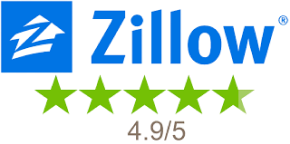 The Zillow logo with 5 green stars underneath and the text '4.9 out of 5'