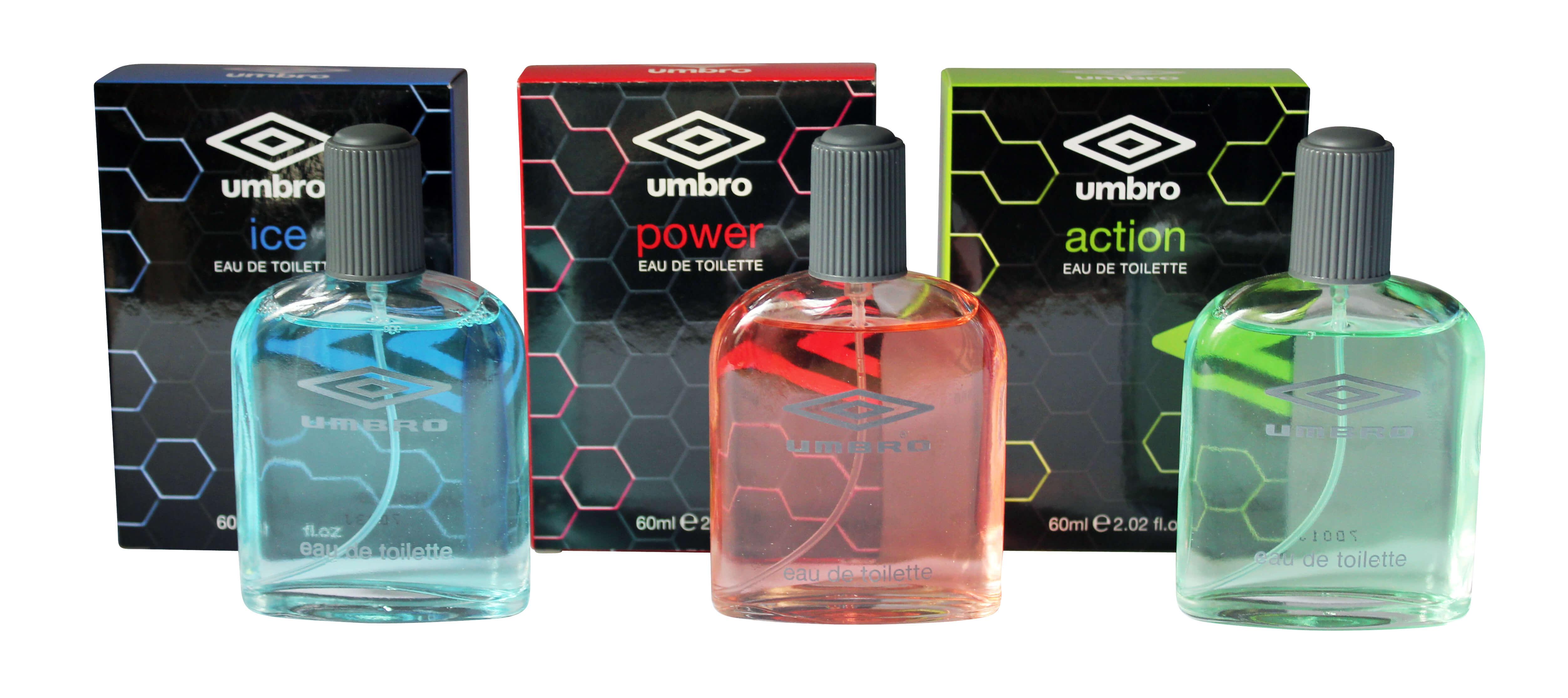 adb3bfce54b Umbro 3x60ml Eau De Toilette Aftershave Collection for Men: Ice + Power +  Action
