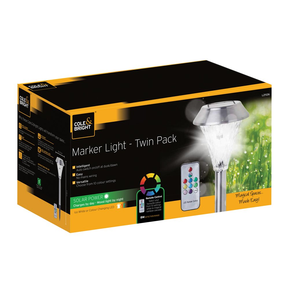 2x Gardman  Colour Changing Marker Garden Solar Lights with Remote Controlled