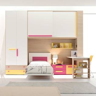 'Yellow-Pink' Girl's bedroom/study furniture set by Clever : Beds & cribs by My Italian Living