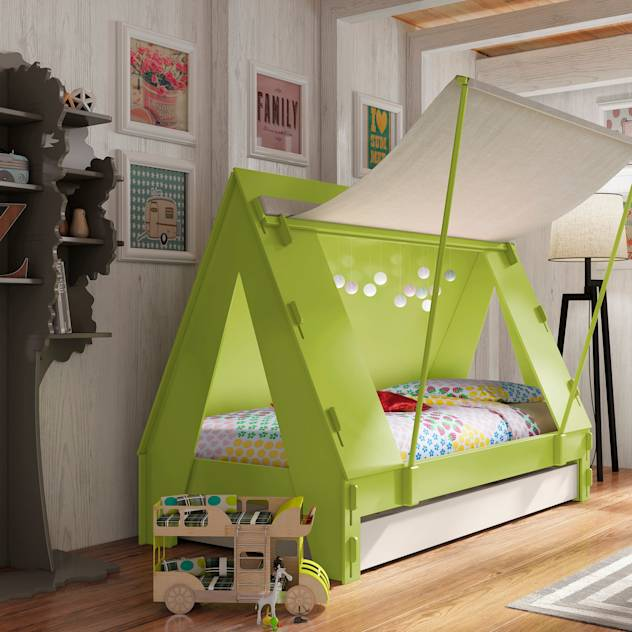 KIDS TENT BEDROOM CABIN BED in Green : Letti & Culle di Cuckooland