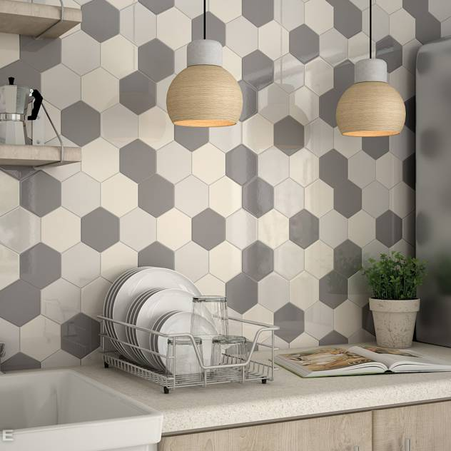 Scale Collection Mosaic. HEXAGON : Pareti & Pavimenti in stile moderno di Equipe Ceramicas