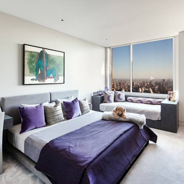 Upper West Side Penthouse : Modern bedroom by Turett Collaborative Architects