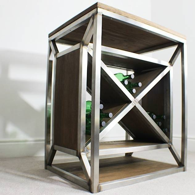 Dulla X Frame Industrial Wine Rack : de Russell Oak and Steel Ltd