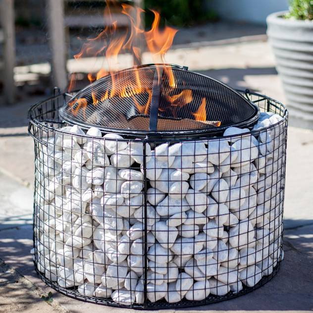 Round pebble mesh with grill : Fire pits & barbecues by La Hacienda