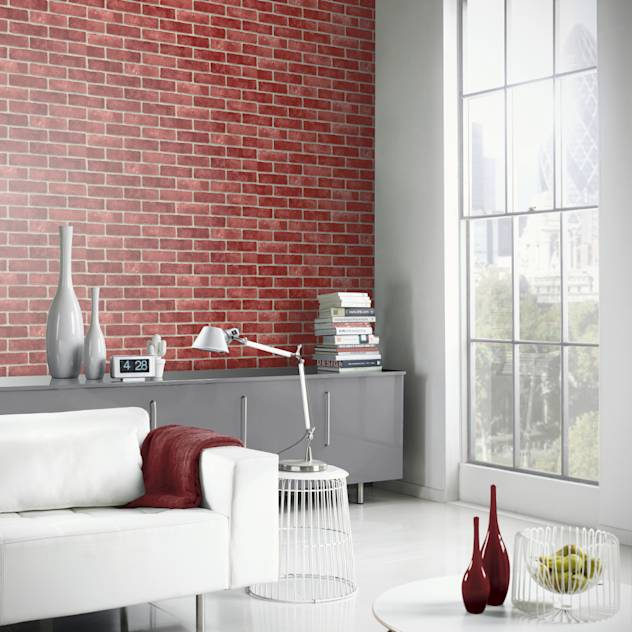 Arthouse VIP Red Brick Wall Pattern Faux Stone Effect Motif Mural Wallpaper 623006 : Papel de parede por I Want Wallpaper