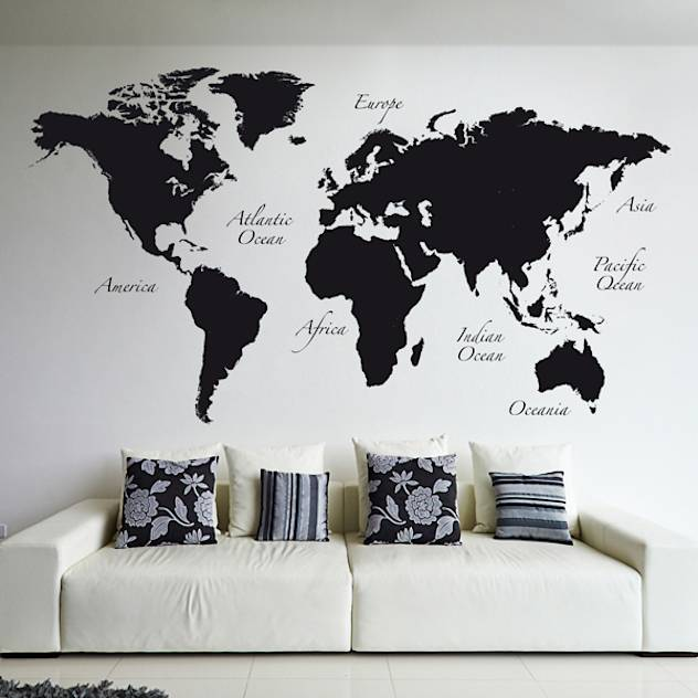 Black World Map : Decorazioni per pareti di Crearreda Wallstickers