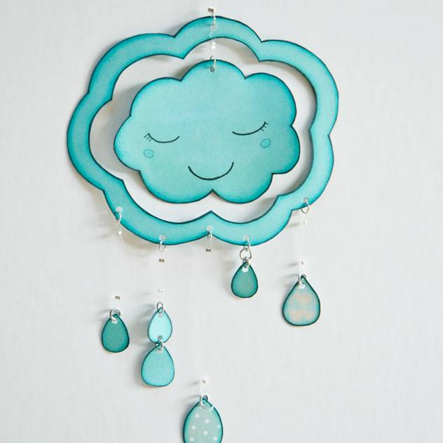 Dual-faced CLOUD mobile (sleepy cloud) : Accessories & decoration by Les Petits Pois sont Bleus
