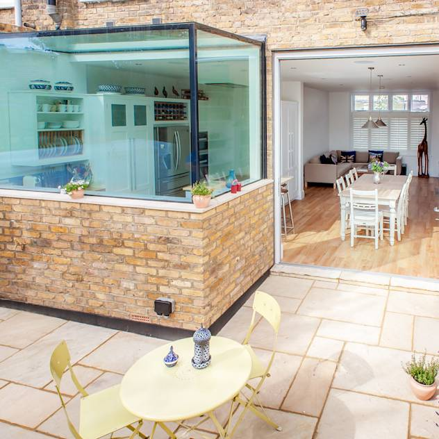 Glass box kitchen extension, Richmond : Modern kitchen by Holland and Green