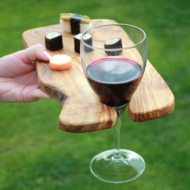 Rustic Olive Wood Party Canapé Boards with Wine Holder : Accessories & decoration by The Rustic Dish