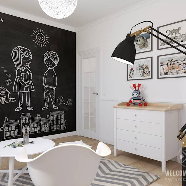 Scandinavian style nursery/kids room by Мастерская дизайна Welcome Studio