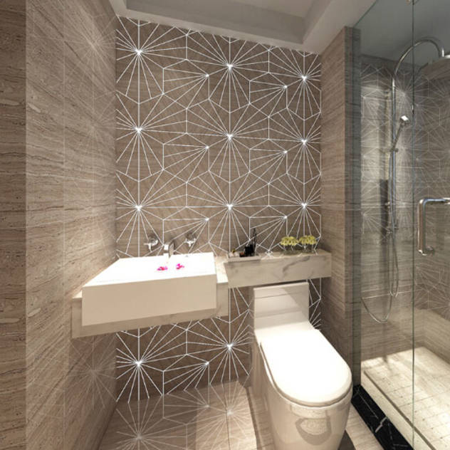 Water Jet Mosaics in Various China Projects : Modern bathroom by ShellShock Designs