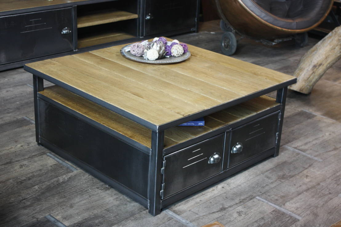 Table de salon industriel: table basse industrielle bois gris ...