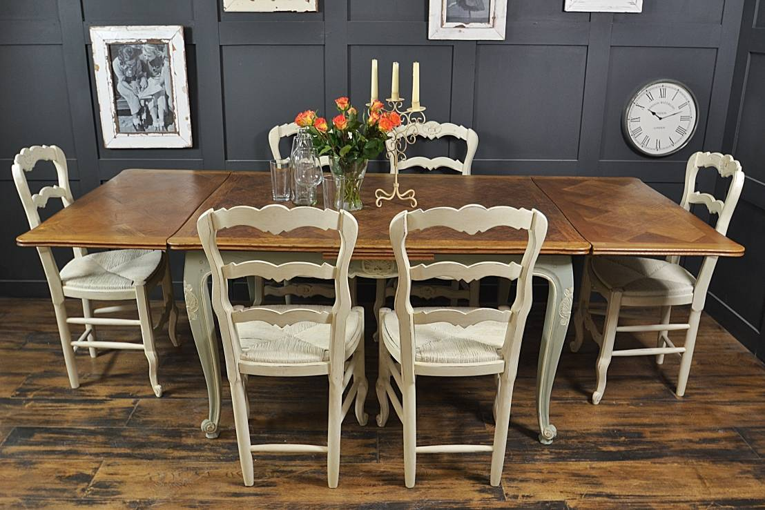 Shabby chic french oak dining table with 6 chairs in rococo by the treasure trove shabby chic - Shabby chic dining table sets ...