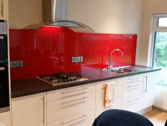Red Glass Splashbacks Red Shaped Glass Splashback