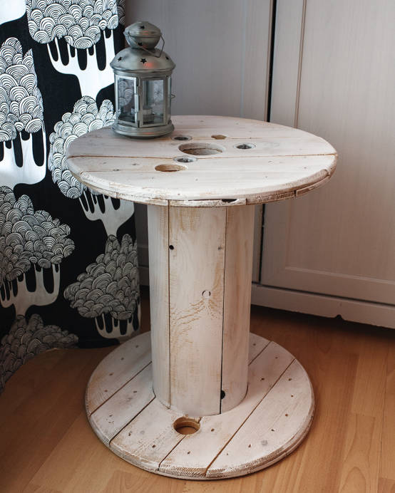 Touret table basse en bois blanc patin par artodeco homify - Touret table basse ...
